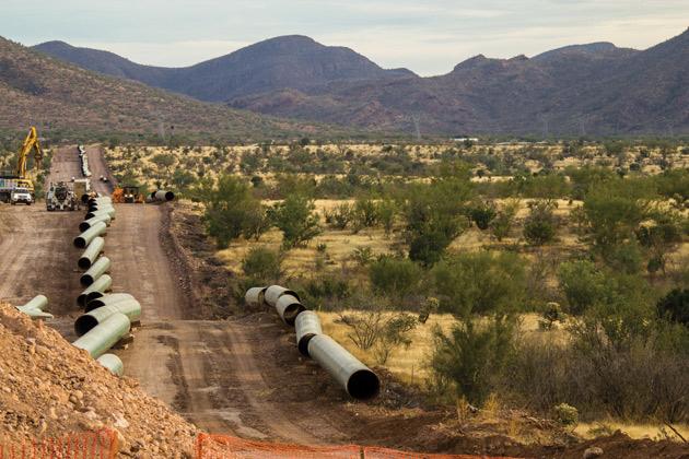 Tramo en construcción del Gasoduto del Noroeste.